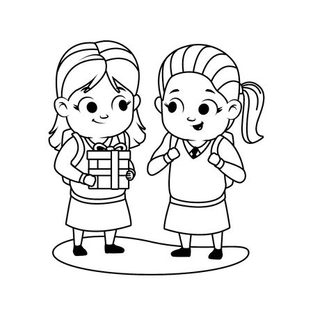 cute little girls with gift avatars characters vector illustration design 矢量图像