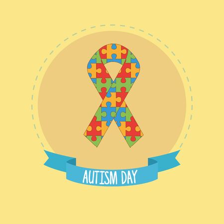 world autism day with ribbon of puzzle pieces vector illustration design 写真素材 - 143298572
