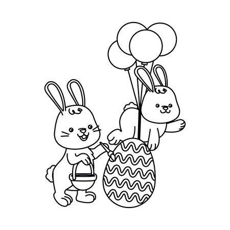 cute little rabbits with egg painted and balloons helium vector illustration design