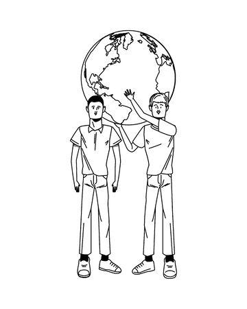 young men avatars lifting world planet characters vector illustration design Standard-Bild - 143298597