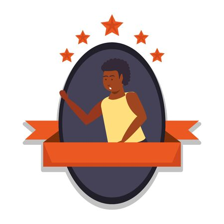young afro athlete basketball player vector illustration design