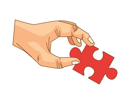 hand lifting puzzle game piece isolated icon vector illustration design 写真素材 - 143298769