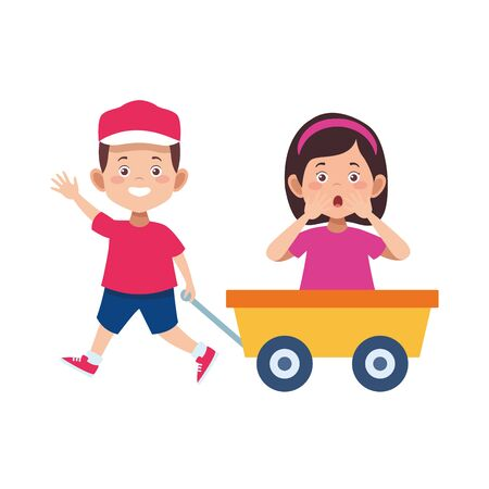 cartoon boy pulling a toy wagon with surprised girl over white background, vector illustration