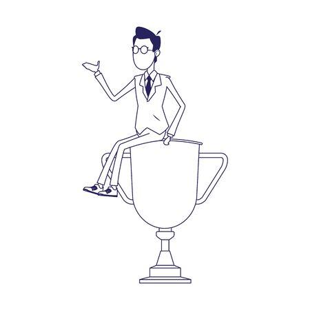 cartoon businessman sitting on big trophy over white background, flat design, vector illustration