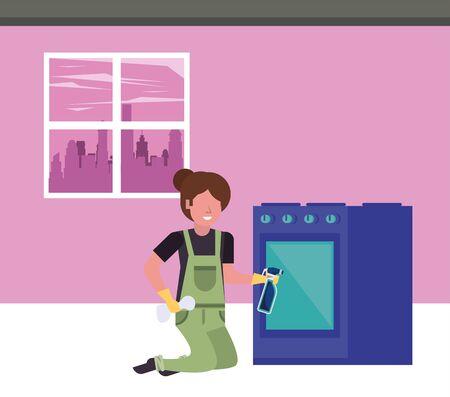 housekepping woman worker with splash bottle vector illustration design 矢量图像