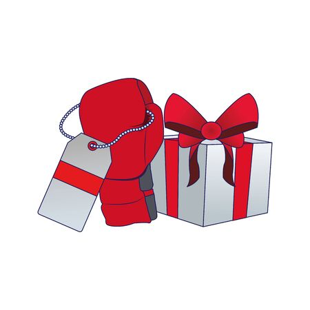 red boxing glove with price tag and gift box over white background, vector illustration