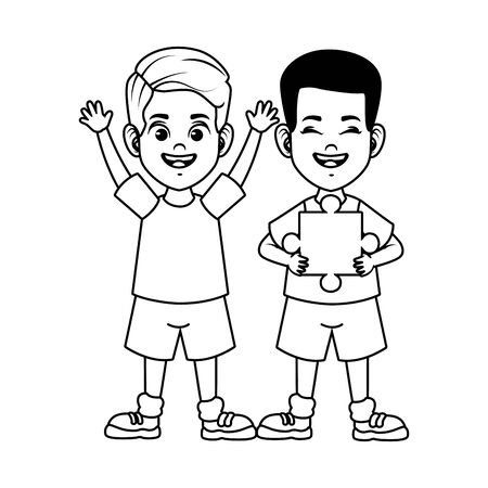 happy little boys with puzzle pieces avatars characters vector illustration design 矢量图像