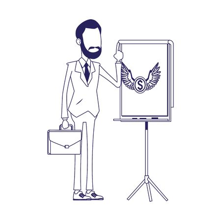 cartoon businessman standing and presentation board with money coin icon over white background, vector illustration 写真素材 - 143298817