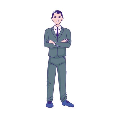 cartoon businessman standing icon over white background, vector illustration