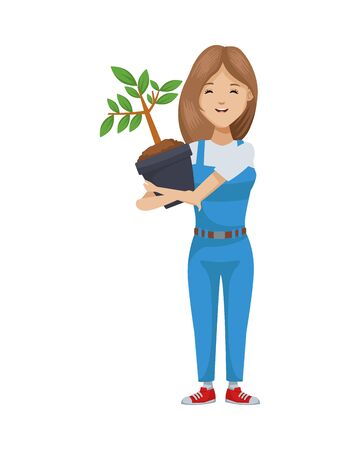 environmentalist woman with tree plant character vector illustration design