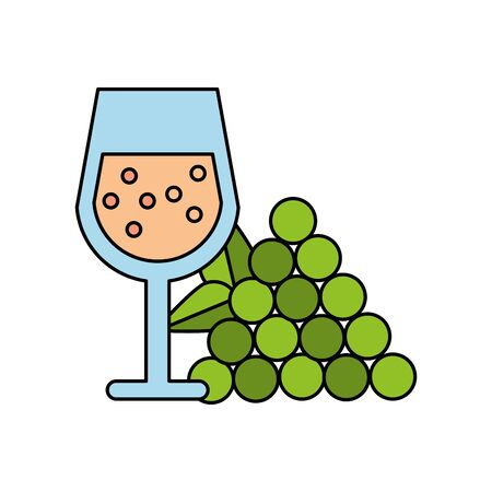 wine cup drink with grapes fruits vector illustration design 向量圖像