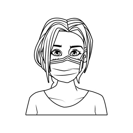 young woman with mouth cap medical accessory vector illustration design