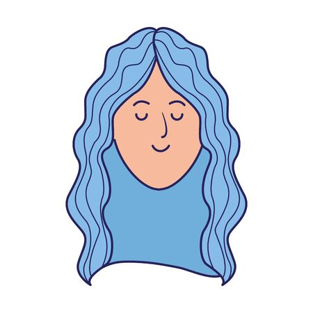 cartoon woman with blue hair icon over white background, vector illustration 矢量图像