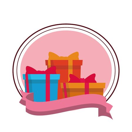 gift boxes icons set round icon and ribbon vector illustration graphic design