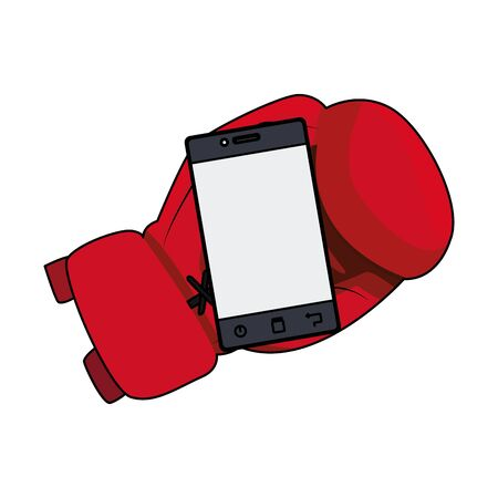 boxing glove with smartphone icon over white background, vector illustration