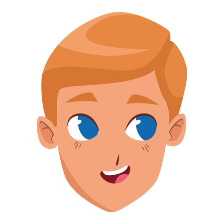 cartoon boy with blonde hair icon over white background, vector illustration