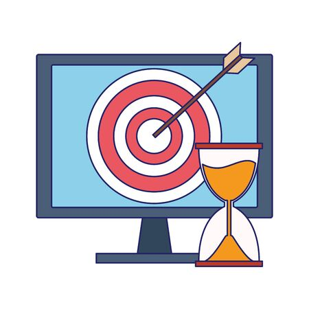 computer with target and hourglass over white background, vector illustration 版權商用圖片 - 143291444