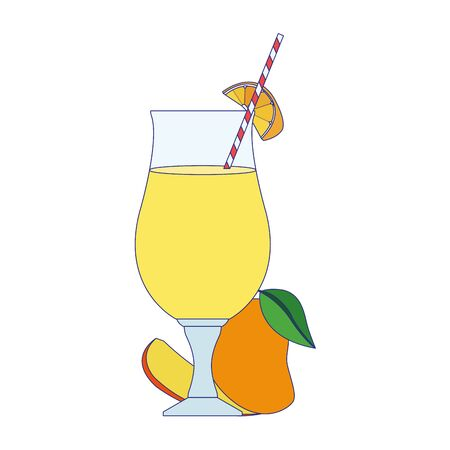 mango juice glass icon over white background, vector illustration 向量圖像
