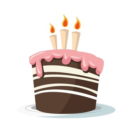 Birthday cake with three candles icon over white background, colorful design, vector illustration 向量圖像