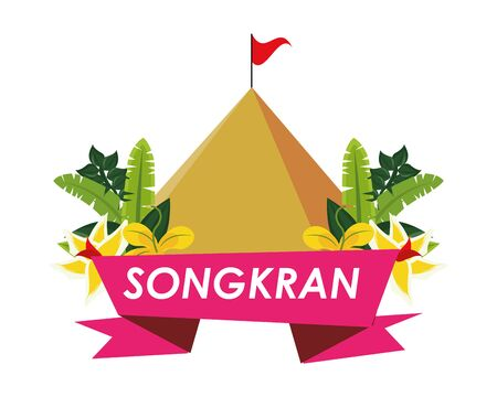 songkran festival ribbon with mountain and flowers vector illustration design