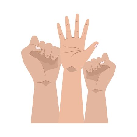 activists hands human protesting icon vector illustration design