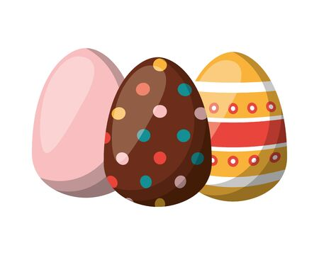 three easter eggs painted icon vector illustration design