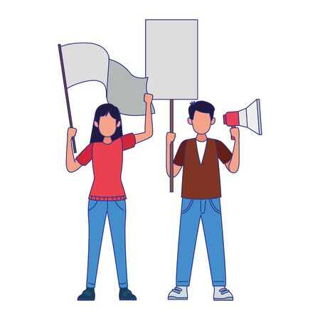 man and woman with white flags and megaphone over white background, colorful design, vector illustration