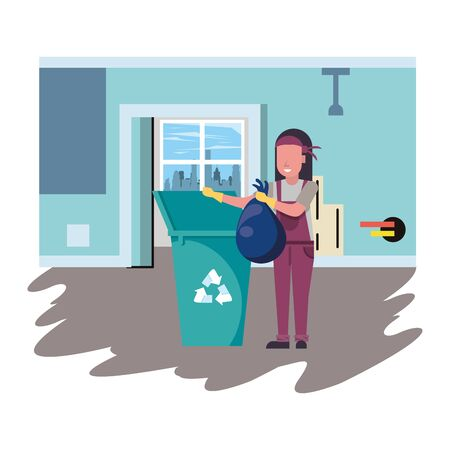housekepping woman worker with garbage pot vector illustration design 矢量图像