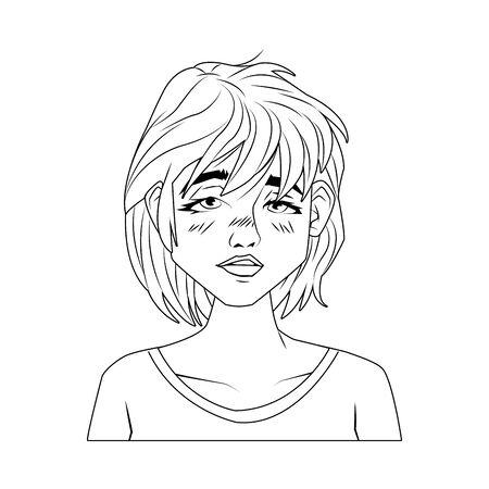 sick woman with symptoms of covid19 vector illustration design 矢量图像