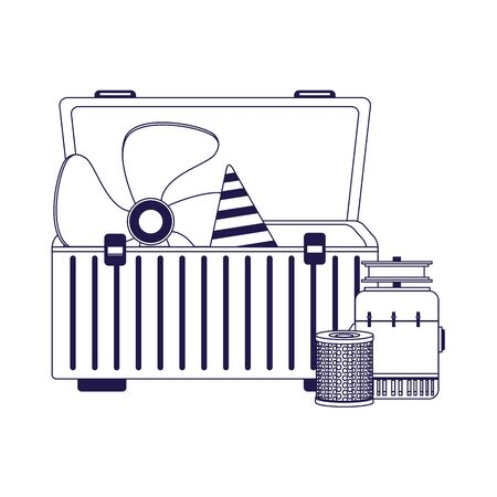 car parts in a tools box over white background, vector illustration Ilustracja