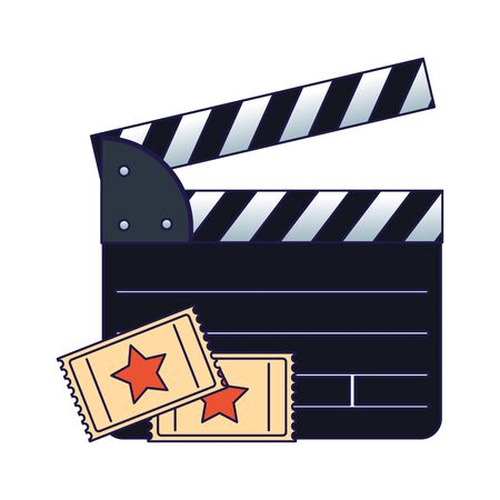 movie clapboard and cinema tickets over white background, vector illustration