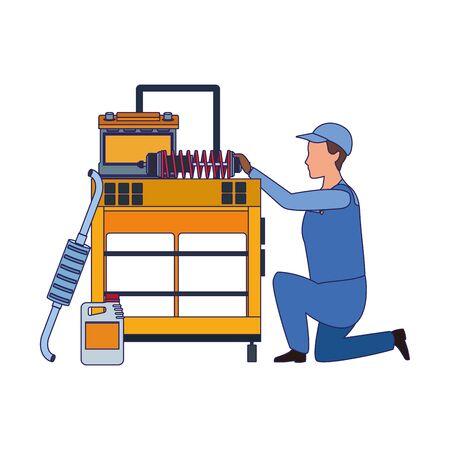mechanic kneeling at tools trolley over white background, colorful design, vector illustration Ilustração