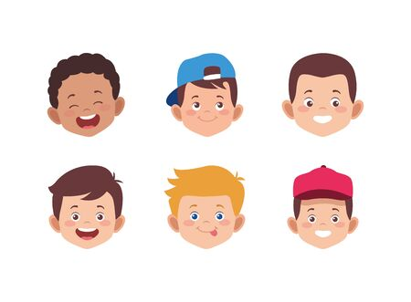 icon set of cartoon kids faces over white background, colorful design. vector illustration