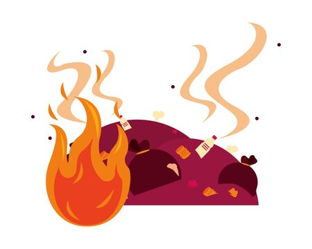 plastic garbage bags with fire flame vector illustration design