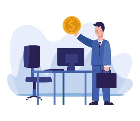 cartoon businessman holding up a money coin and desk with computer over white background, colorful design, vector illustration 写真素材 - 143298395