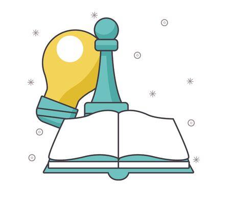 book, chess piece and bulb light over white background, vector illustration Ilustração