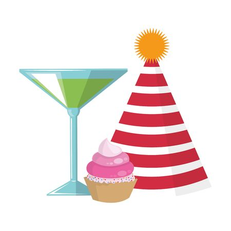 party hat with cocktail and cupcake icon over white background, vector illustration 向量圖像