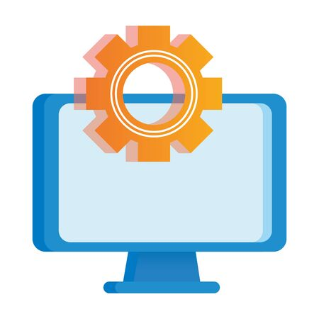 desktop computer display with gear vector illustration design Ilustracja