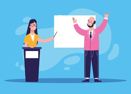 cartoon woman on tribune and excited businessman over blue background, colorful design, vector illustration