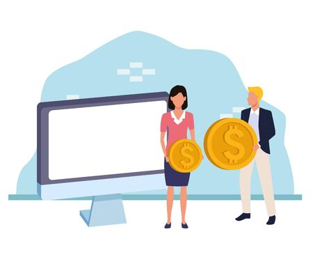 computer with avatar businesspeople with money coins over white and blue background, colorful design , vector illustration