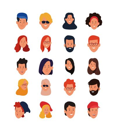 icon set of cartoon happy people faces over white background, vector illustration
