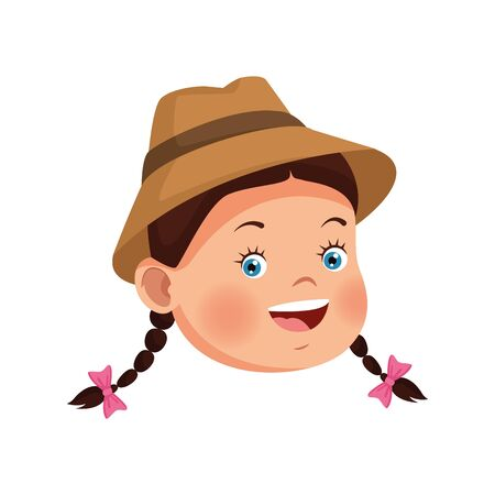 happy girl wearing a hat icon over white background, vector illustration