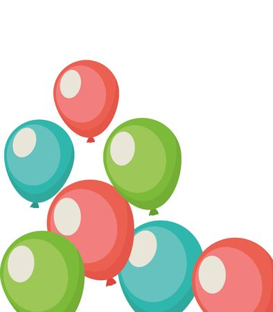 balloons helium party decoration icons vector illustration design