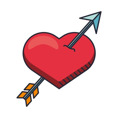 heart love with arrow valentines day vector illustration design