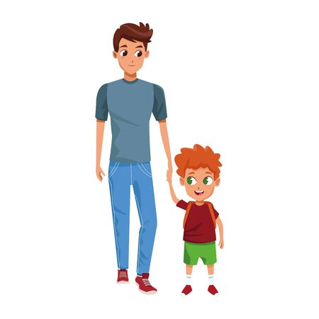 man with little boy standing icon over white background, colorful design, vector illustration
