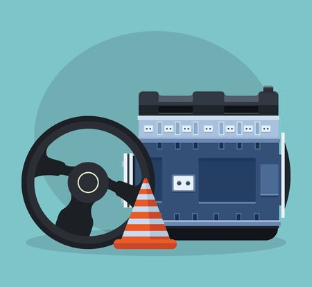 steering wheel with car engine and traffic cone over blue background, colorful design, vector illustration
