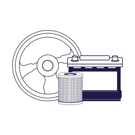 car battery, steering wheel and air filter over white background, flat design, vector illustration