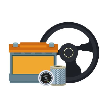 steering wheel, car battery and parts over white background, colorful design, vector illustration  イラスト・ベクター素材