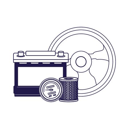 steering wheel, car battery and parts over white background, vector illustration  イラスト・ベクター素材
