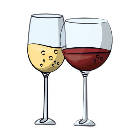 wine and champagne cups glasses toast vector illustration design 向量圖像